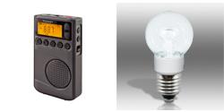 CC Pocket AM/FM/WX Radio & Power Vivid A15 LED Light Bulb - Cool White