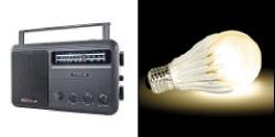 CCRadio-EP AM/FM Radio w/ Lighted Needle & Dial & GeoBulb®-II LED Light Bulb (Warm White)