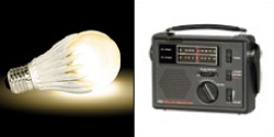 GeoBulb®-3 LED Light Bulb (Warm White) & CC Solar Observer AM/FM/Weather Windup Emergency Radio