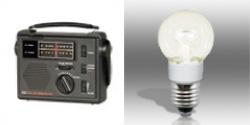 CC Solar Observer AM/FM/Weather Windup Emergency Radio & Power Vivid® A15 LED Bulb