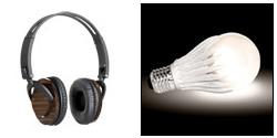 Senta-40 Wooden Headphones & GeoBulb®-3 LED Light Bulb Soft White