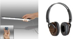 GeoBulb® Under Cabinet Light Bar II (Cool White) and Senta-40 Wooden Headphones w/ Carry Case & Detachable Fabric Cord