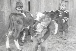 Annette and brothers on Dairy in Ferndale