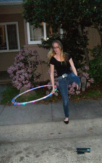 Carolyn's niece performing her hula hoop routine with the Senta Ally Portable Speaker.