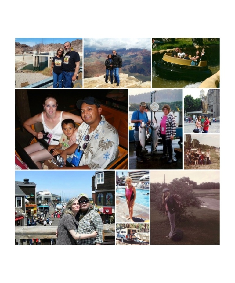 Top and middle left: Sue and her Sweetie Scott at the Hoover Dam and Grand Canyon. Top right: Tara, her youngest son Bailey in the white shirt, Bailey's best friend Preston, her oldest son Derek is next to Tara and her husband Sage at Six Flags Discovery Kingdom in 2012. Middle left: Edgar on his trip to Disney World in Florida when his son Joey was 5.  He had gone to Florida to attend a conference and his family met him in Orlando after his conference was over. Middle: Kim with her husband Gene fishing on the river in Northern California. Right middle top: Edgar with his Family on their first trip to Acapulco, Mexico when his son Joey was about 4 years old.  Here they are Mexico City in front of the statue of Pope John Paul II at the Lady of Guadalupe Cathedral in Mexico City. Middle Right: Carolyn, 9 years old in Denmark, Summer of 1974. Bottom Left: Katie and her husband Dave on Pier 39 in San Francisco. Bottom middle: Jessyca M at the pool on summer vacation in Disneyland in Los Angeles, CA. 1991. And camping at Lake Mendocino in Northern California in 1992. Bottom Left: Carolyn at 10 years old, packed and ready for Summer Camp in 1975.